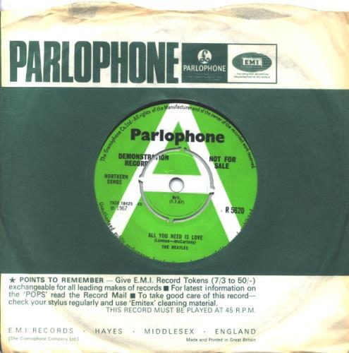 "The Beatles All You Need Is Love 7"" vinyl single (7 inch record) UK BTL07AL618548"