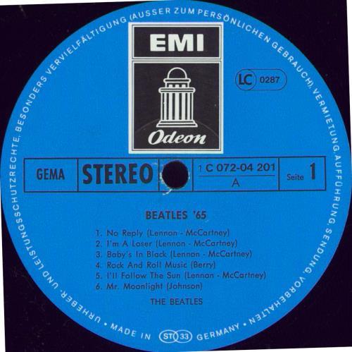 The Beatles Beatles '65 - Blue Label - EX vinyl LP album (LP record) German BTLLPBE772369