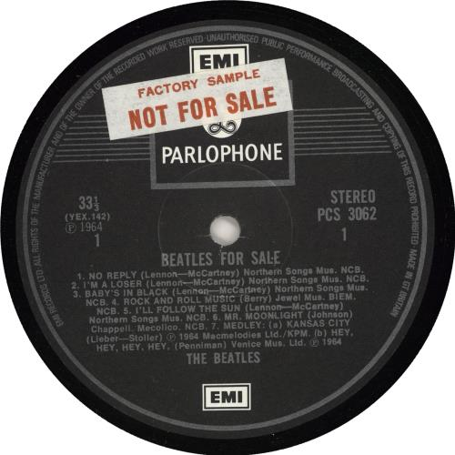 The Beatles Beatles For Sale - EMI - Sample vinyl LP album (LP record) UK BTLLPBE720942