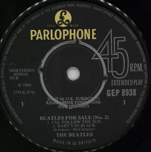 "The Beatles Beatles For Sale No. 2 EP - 1st - KT 7"" vinyl single (7 inch record) UK BTL07BE764008"