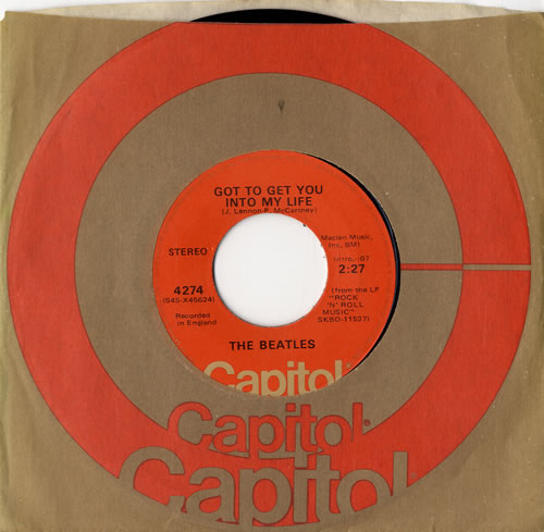 "The Beatles Got To Get You Into My Life - Peach 7"" vinyl single (7 inch record) US BTL07GO409326"