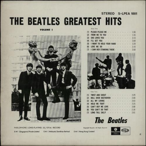The Beatles Greatest Hits Volume 1 Singapore Vinyl Lp