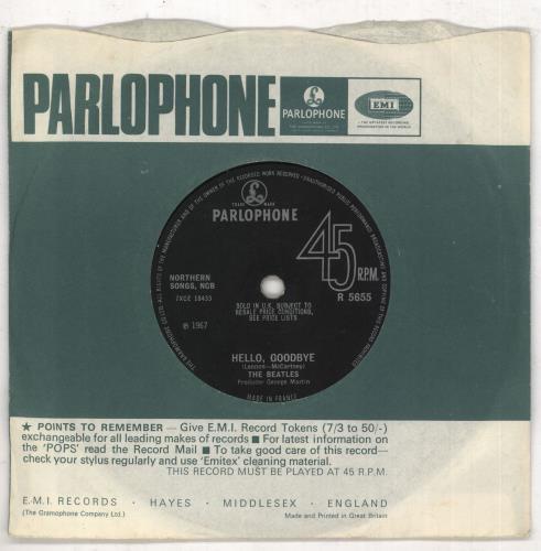 "The Beatles Hello, Goodbye - Pathé - VG 7"" vinyl single (7 inch record) UK BTL07HE555427"