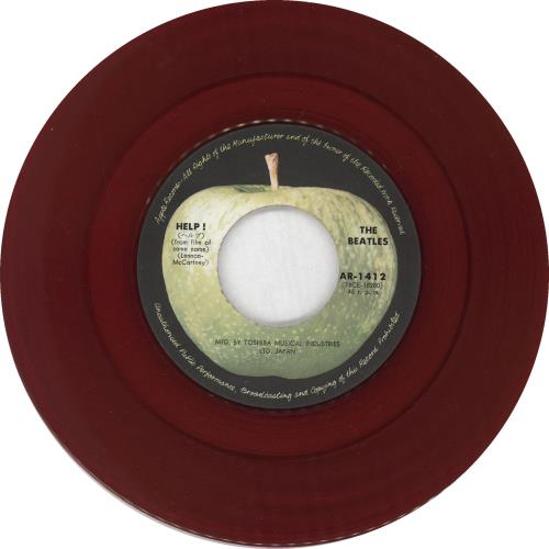 "The Beatles Help! - Red Vinyl - 4th - VG 7"" vinyl single (7 inch record) Japanese BTL07HE749470"