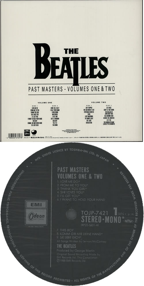 The Beatles Past Masters Volumes 1 & 2 2-LP vinyl record set (Double Album) Japanese BTL2LPA109626