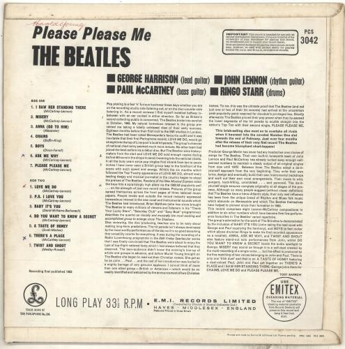 The Beatles Please Please Me - 7th - VG vinyl LP album (LP record) UK BTLLPPL707302