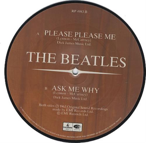 "The Beatles Please Please Me 7"" vinyl picture disc 7 inch picture disc single UK BTL7PPL02377"