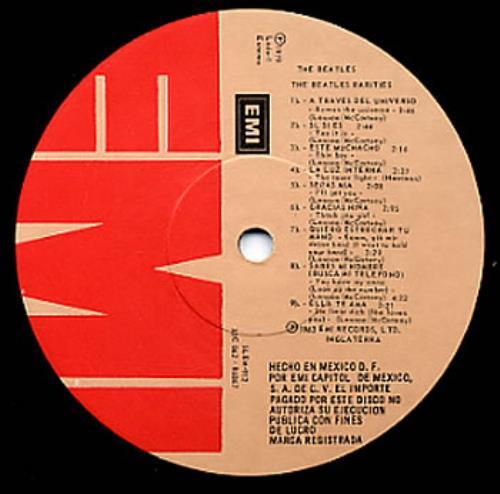 The Beatles Rarities Red Amp Tan Emi Label Mexican Vinyl
