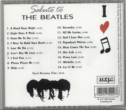 The Beatles Salute To The Beatles CD album (CDLP) UK BTLCDSA691207
