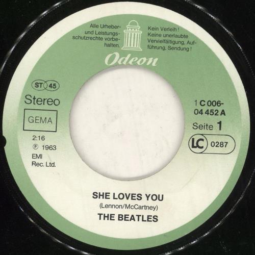 "The Beatles She Loves You - VG/EX 7"" vinyl single (7 inch record) German BTL07SH741700"