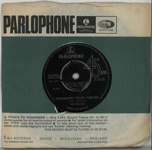 """The Beatles Strawberry Fields Forever - 1st - 4PR 7"""" vinyl single (7 inch record) UK BTL07ST554934"""