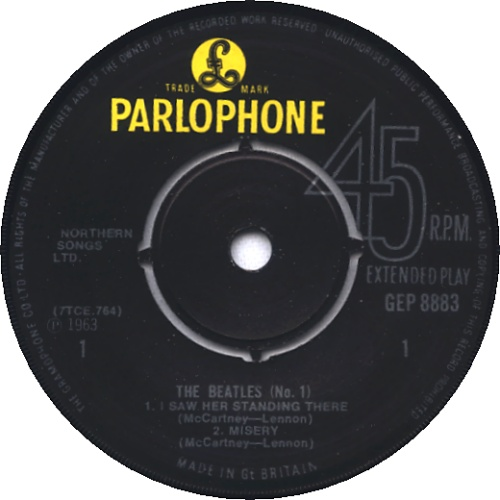 "The Beatles The Beatles (No. 1) EP - 2nd 7"" vinyl single (7 inch record) UK BTL07TH232476"