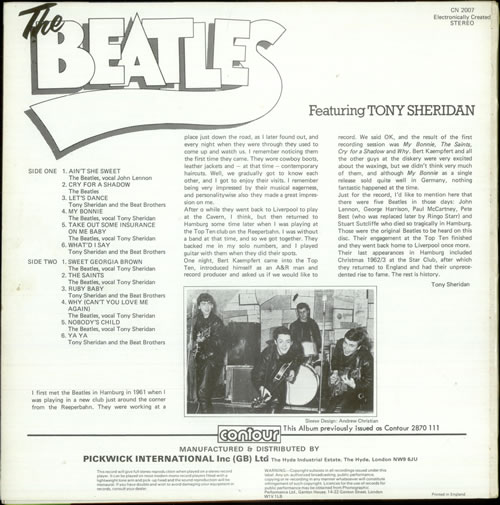The Beatles The Beatles Featuring Tony Sheridan vinyl LP album (LP record) UK BTLLPTH226934