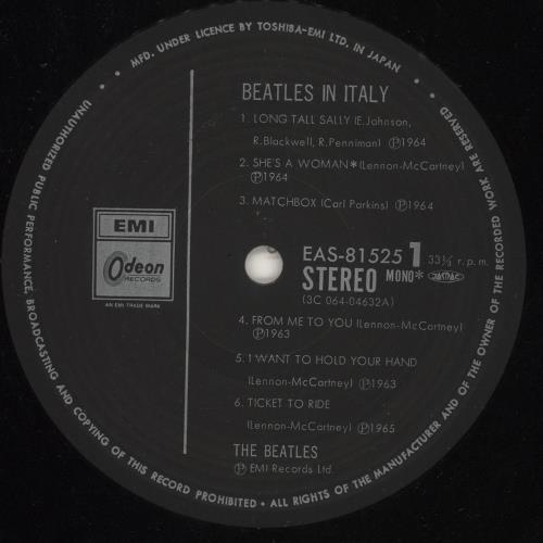 The Beatles The Beatles In Italy vinyl LP album (LP record) Japanese BTLLPTH745560