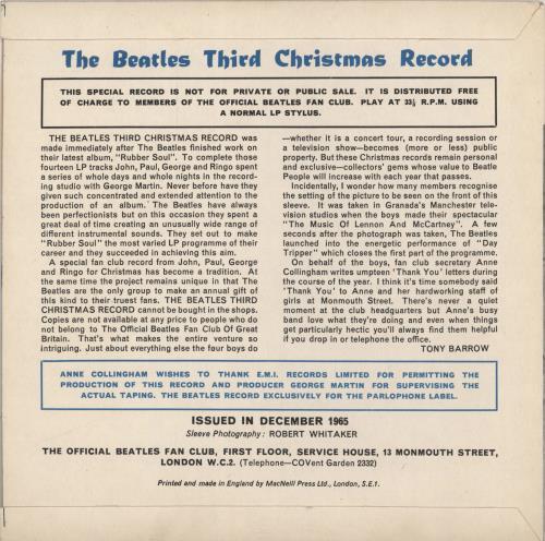 "The Beatles The Beatles Third Christmas Record - P/S 7"" vinyl single (7 inch record) UK BTL07TH53273"