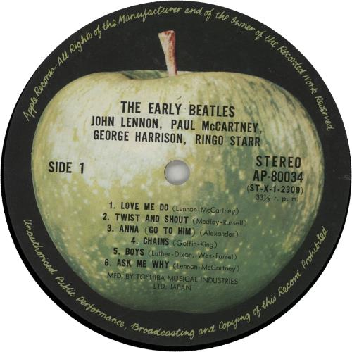 The Beatles The Early Beatles 1st Japanese Vinyl Lp