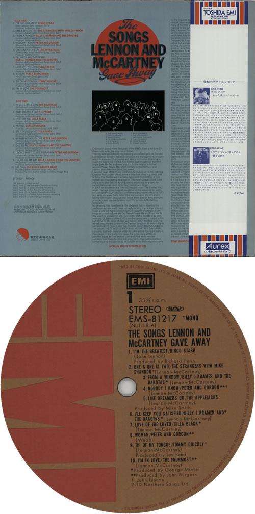The Beatles The Songs Lennon And McCartney Gave Away vinyl LP album (LP record) Japanese BTLLPTH224716