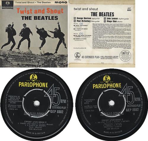 "The Beatles Twist And Shout EP - Misprint 7"" vinyl single (7 inch record) UK BTL07TW326543"