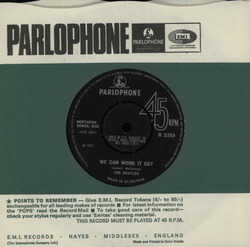 """The Beatles We Can Work It Out - 2nd 7"""" vinyl single (7 inch record) UK BTL07WE374492"""