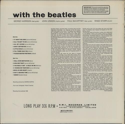 The Beatles With The Beatles vinyl LP album (LP record) Japanese BTLLPWI764611