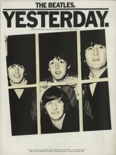 The Beatles Yesterday UK sheet music