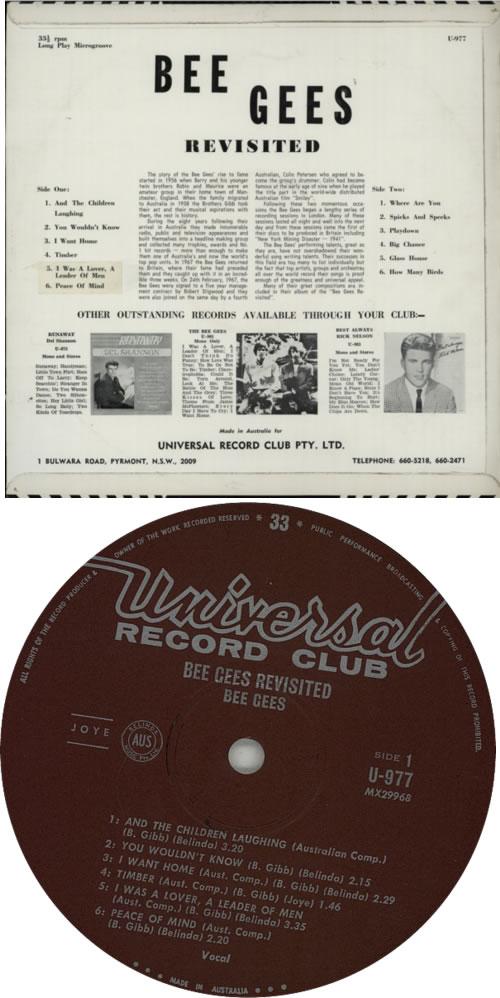 The Bee Gees Bee Gees Revisited vinyl LP album (LP record) Australian BGELPBE621922