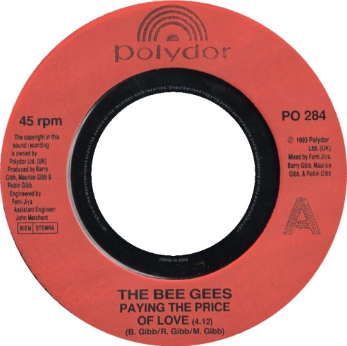"""The Bee Gees Paying The Price Of Love - Jukebox 7"""" vinyl single (7 inch record) UK BGE07PA629943"""