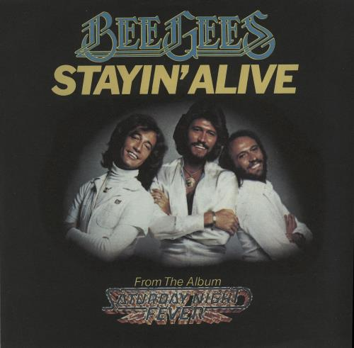 """The Bee Gees Stayin' Alive - Picture Sleeve 7"""" vinyl single (7 inch record) UK BGE07ST585890"""