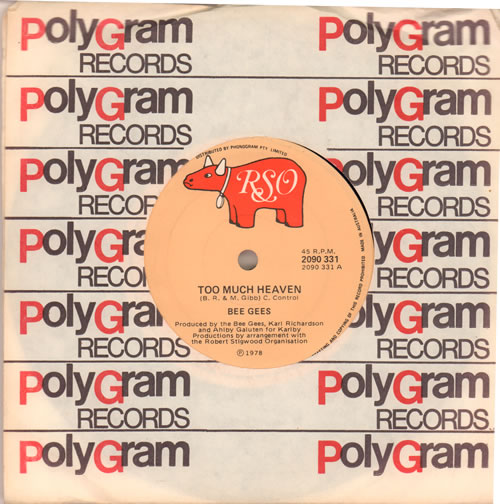 """The Bee Gees Too Much Heaven 7"""" vinyl single (7 inch record) Australian BGE07TO638979"""