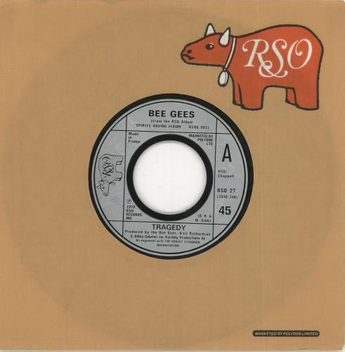 """The Bee Gees Tragedy - Wide Centre 7"""" vinyl single (7 inch record) French BGE07TR723584"""