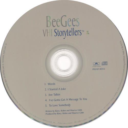 """The Bee Gees VH-1 Storytellers CD single (CD5 / 5"""") US BGEC5VH143852"""