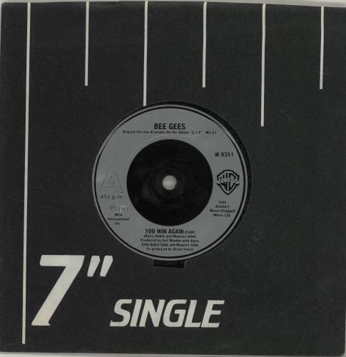 "The Bee Gees You Win Again - Silver inj 7"" vinyl single (7 inch record) UK BGE07YO687290"