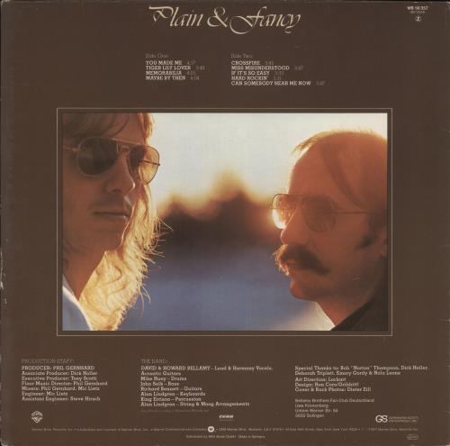 The Bellamy Brothers Plain & Fancy vinyl LP album (LP record) German BMRLPPL720856