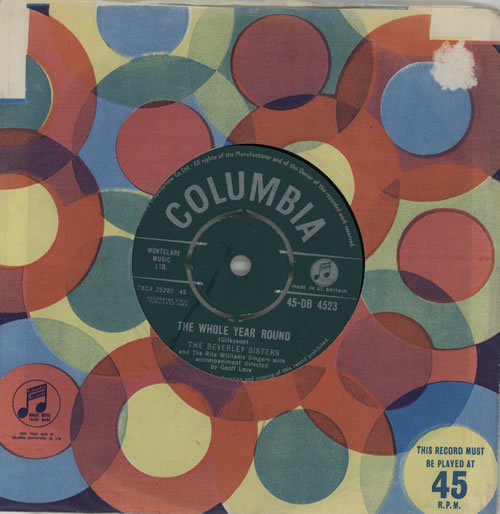 """The Beverley Sisters The Whole Year Round 7"""" vinyl single (7 inch record) UK BS407TH572340"""