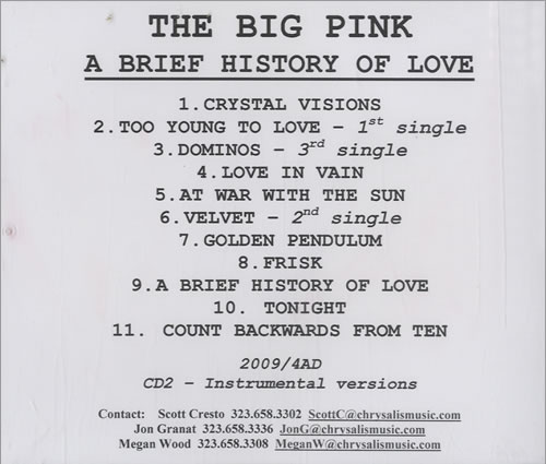 The Big Pink A Brief History Of Love + Instrumental CD-R acetate US T7PCRAB488684