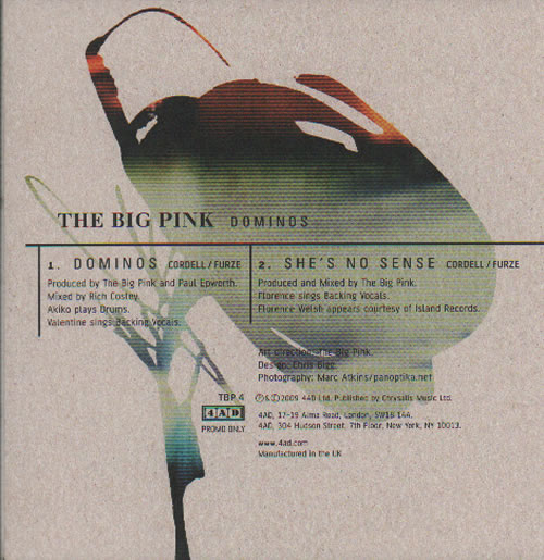 """The Big Pink Dominos CD single (CD5 / 5"""") UK T7PC5DO637472"""