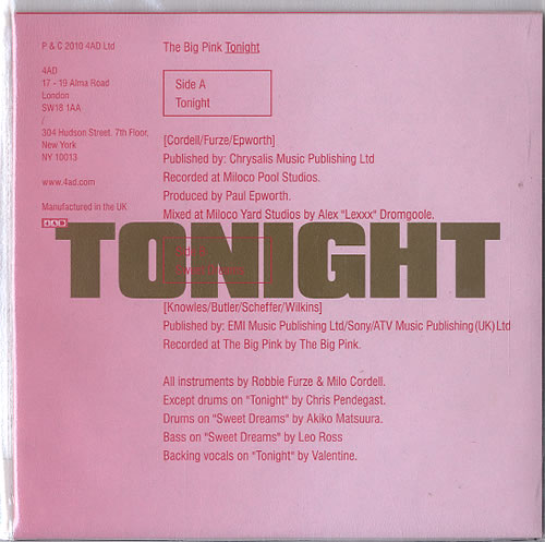 "The Big Pink Tonight 7"" vinyl single (7 inch record) UK T7P07TO504423"