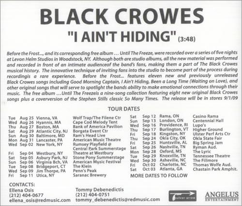 The Black Crowes I Ain't Hiding CD-R acetate US CRWCRIA527249