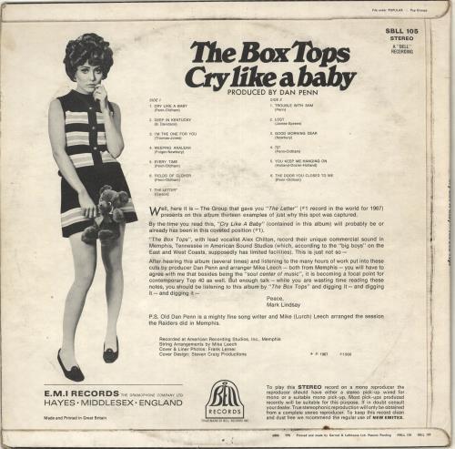 The Box Tops Cry Like A Baby vinyl LP album (LP record) UK BXTLPCR714062