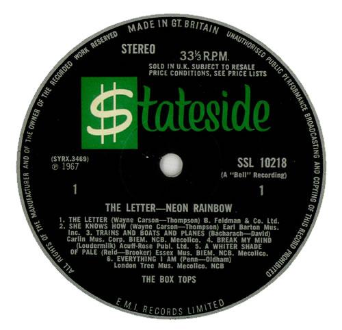 The Box Tops The Letter Neon Rainbow Uk Promo Vinyl Lp