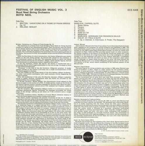 The Boyd Neel String Orchestra Festival Of English Music Vol. 3 vinyl LP album (LP record) UK 3RRLPFE770861