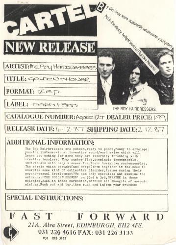 "The Boy Hairdressers Golden Shower 12"" vinyl single (12 inch record / Maxi-single) UK T3Q12GO747693"