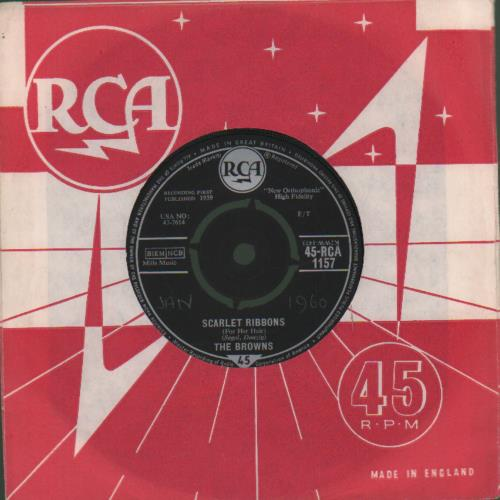 "The Browns Scarlet Ribbons 7"" vinyl single (7 inch record) UK UHM07SC503937"