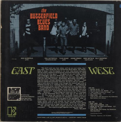 The Butterfield Blues Band East-West - 1st vinyl LP album (LP record) UK B8BLPEA605524