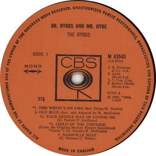 The Byrds Dr. Byrds & Mr Hyde - Mono - Ex vinyl LP album (LP record) UK BYRLPDR734456