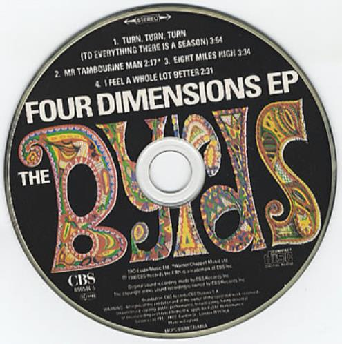 """The Byrds Four Dimensions EP CD single (CD5 / 5"""") UK BYRC5FO42054"""