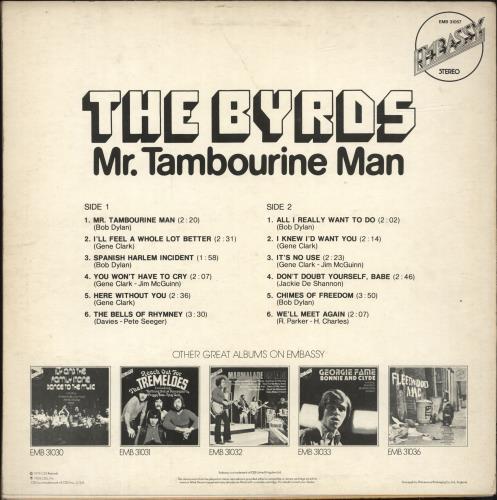 The Byrds Mr Tambourine Man vinyl LP album (LP record) UK BYRLPMR316121