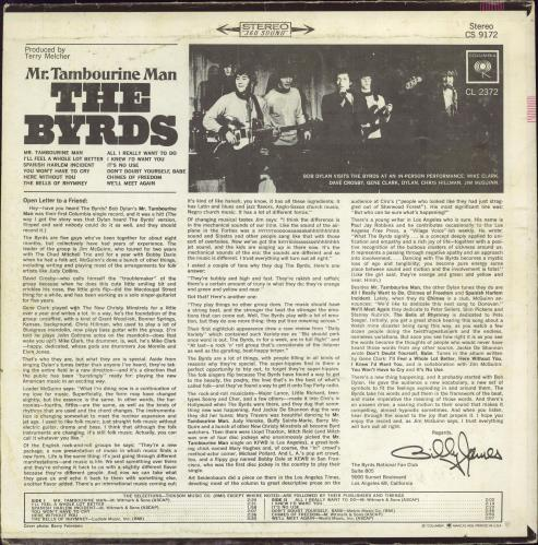 The Byrds Mr. Tambourine Man vinyl LP album (LP record) US BYRLPMR769508