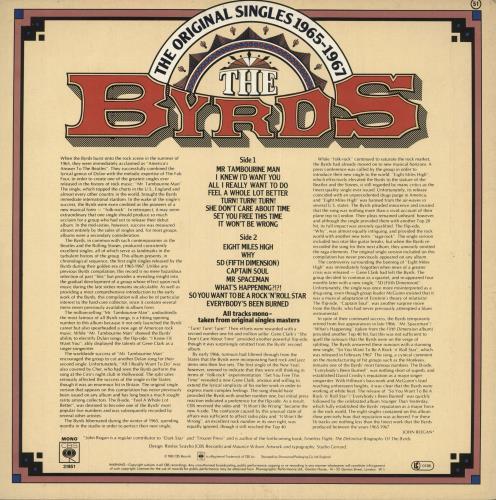 The Byrds The Original Singles 1965-1967 - Volume 1 vinyl LP album (LP record) UK BYRLPTH737528