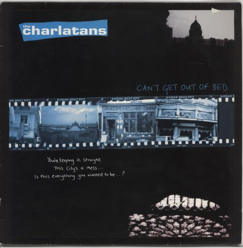 """The Charlatans (UK) Can't Get Out Of Bed + Insert - EX 12"""" vinyl single (12 inch record / Maxi-single) UK CHA12CA766469"""
